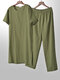 Lightweight Plain Cozy Loose Cotton Linen Loungewear Set O Neck Breathable Home Co-ords for Men - Green
