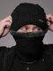 Uomo 2PCS Plus Velluto spesso inverno all'aperto Tenere in caldo Collo Protezione Copricapo Sciarpa Cappello lavorato a maglia Berretto - Nero
