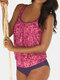 Women All Over Letter Print Wireless Wide Shoulder Straps Tankinis Swimsuit - Rose
