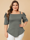 Solid Color Off Shoulder Knotted Plus Size Casual T-shirt for Women - Grey