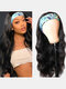24 Inch Headscarf Wig Big Wave Long Curly Hair Chemical Fiber Full Cover Wig - Black