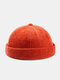 Unisex Cotton Solid Color Letter Cloth Label All-match Warmth Brimless Beanie Landlord Cap Skull Cap - Orange