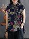 Leaves Flower Print Pocket Plus Size High-low Vintage Blouse - Navy