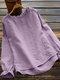 Calico Printed Ruffle Sleeve O-neck Blouse For Women - Purple
