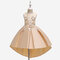 Girl's 3D Flower Decorated Curved Hem Patchwork Princess Dress for 4-13Y - Champagne