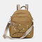 Women Nylon Embroidery Multiple-Carry Backpack - Khaki