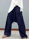 Elastic Waist Drop-crotch Loose Stylish Plus Size Pants With Front Pockets - Navy