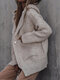 Solid Pocket Hooded Button Long Sleeve Loose Cardigan - Apricot