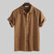 Mens 100% Cotton Big Pockets Turn Down Collar Half Sleeve Solid Color Loose Shirts