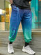 Mens Ombre Letter Side Print Loose Drawstring Cuffed Pants - Green