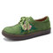 Women Comfy Soft Suede Flower Embroidered Lace Up Flats - Green
