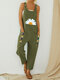Vintage Daisy Floral Printed Straps Patchwork Jumpsuit With Pocket - Dark Green