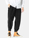 Mens Corduroy Cotton Solid Loose Zipper Fly Pants With Pocket - Black