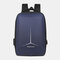 Men Large Capacity Reflective Waterproof USB Charging Earphone Hole Travel Backpack - Blue