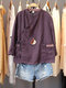 Solid Color Stand Collar Button Drawstring Blouse With Pocket - Purple