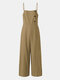 Solid Color Button Pocket Zipper Strap Sleeveless Loose Casual Jumpsuit - Khaki
