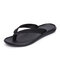 Men Cow Leather Slip Resistant Soft Sole Clip Toe Casual Slippers - Black