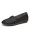 LOSTISY Women Hand Stricing Hollow Comfy Retro Casual Slip On Flats - Black