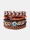 4個の多層レザーメンズブレスレットセット手織りツリーレターレディースビーズブレスレット - #19