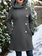 Solid Color Long Sleeves Hooded Warm Coat With Pocket For Women - Grey