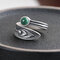 Vintage 925 Silver Open Ring Malachite Carve Women Ring Jewelry Gift - Silver