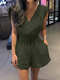 Solid Color Knotted Pocket High Waist V-Neck Sleeveless Romper - Army Green