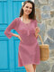 Women Knit Hollow Out Bandage Neck Side Split Cover Up Swimsuit - Pink