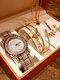 8 Pcs Women Watch Set Inlaid Diamond Watch Leaf Bracelet Set Necklace Earrings Jewelry Kit - Silver