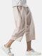 Mens Cotton Linen Chinese Style Loose Drawstring Cropped Pants - Khaki