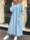 Casual Solid Color Crewneck Button Plus Size Dress with Pockets - Blue