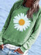 Daisy Floral Printed Long Sleeve O-neck Casual Blouse - Green