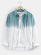 Mens Two Tone Ombre Basic Lapel Long Sleeve Casual Shirt - Blue