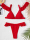 Women Solid Color Ruffle Trims Low Waist Thong Bikinis Swimsuit - Red