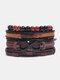 4個の多層レザーメンズブレスレットセット手織りツリーレターレディースビーズブレスレット - #22