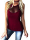 See-through Sleeveless Solid Plus Size Tank Top - Red