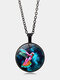 Vintage Printed Colored Hummingbird Women Necklace Alloy Glass Pendant Sweater Chain - Black
