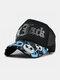 ユニセックスコットンスカルレターパターンメッシュ通気性サンシェード野球帽トラッカーハット - 黒