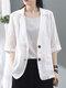 Однотонная повседневная куртка с отложным воротником и рукавами 3/4 с карманами - Белый