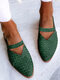 LOSTISY Large Size Retro Braided Veins Pointed Toe Hollow Slingback Flats for Women - Green
