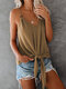 Solid Color V-neck Strap Knotted Cami For Women - Khaki