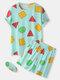 3Pcs Women Geometry Print Short Sleeve Pajamas Sets With Eye Cover - Green