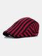 Men Cotton Linen Contrast Color Striped Pattern Retro Forward Hat Beret - Purple Red