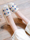 Women Casual Comfortable Round-toe Espadrilles Embroidered Canvas Flats - White