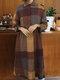 Women Plaid Print Long Sleeves Turn Down Collar Patchwork Dress - Yellow