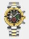 Multifunctional Men Business Watch Luminous Chronograph Calendar Quartz Watch - Black Dial Between Gold Band