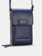 Multi-slots Flap Magnetic Button Stitch Detail Multi-pockets Touch Screen On The Back 7 Inch Phone Bag - Royal Blue