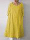 ポケット付きソリッドカラー3/4スリーブルーズコットンプラスサイズドレス - 黄