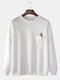 Mens Butterfly Embroidery Cotton Drop Shoulder Chest Pocket Loose Pullover Sweatshirts - White