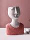 1PC Art Portrait Flower Pot Vase Sculpture Resin Human Face Family Flower Pot Handmade Garden Storage Flower Arrangement Home Decors - Woman-2