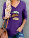 Feather Printed V-neck Long Sleeve Casual Women T-Shirt - Purple